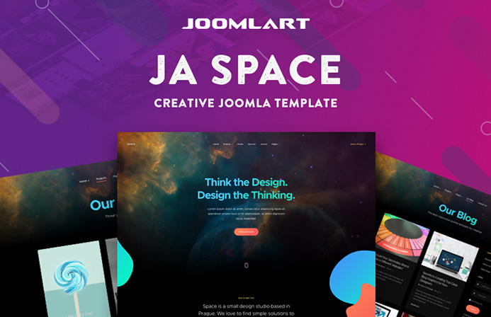 Review | Features : JA Space Creative Joomla template for Portfolio and Agency websites