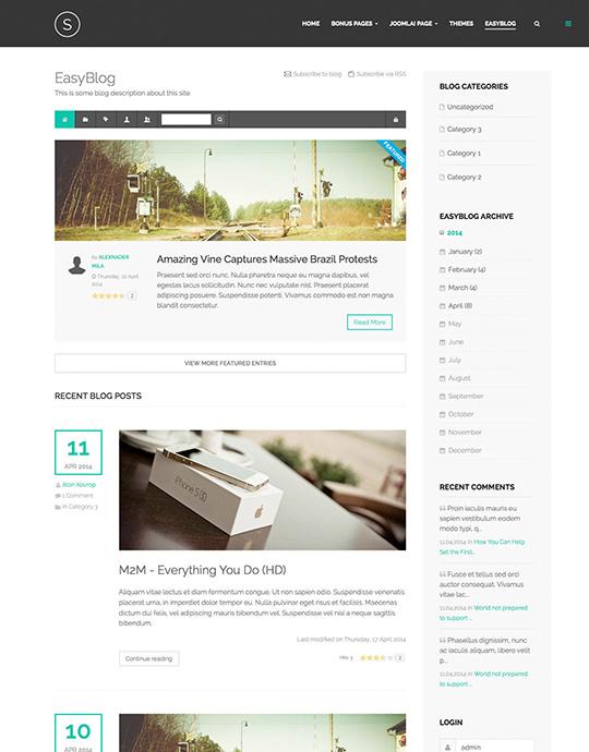 easyblog Joomla template - JA Sugite