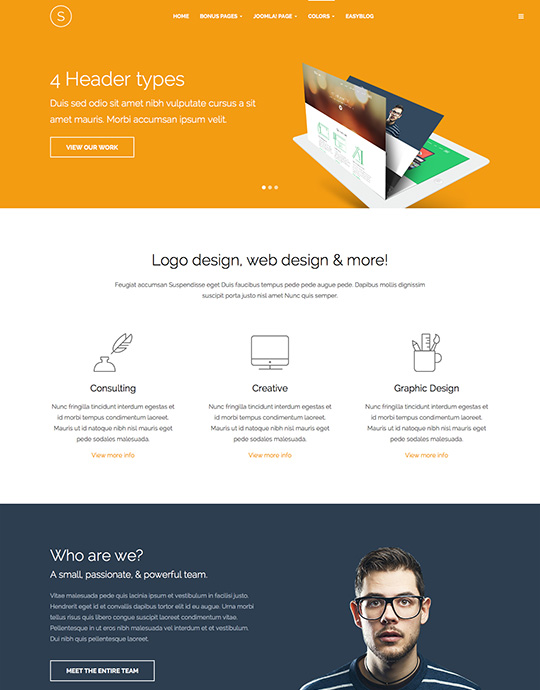 Joomla portfolio Template orange theme - JA Sugite