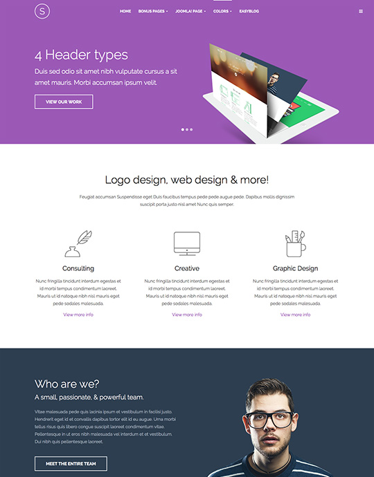 Portfolio Joomla template for designer purple theme - JA Sugite
