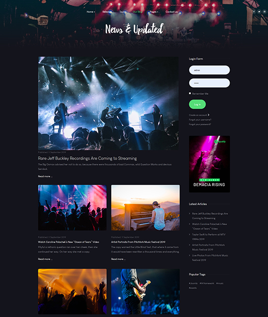 Music & Band, Music Events Joomla Template - JA Symphony