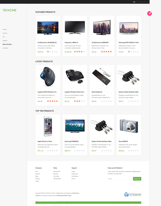 eCommerce Joomla template - JA Techzone