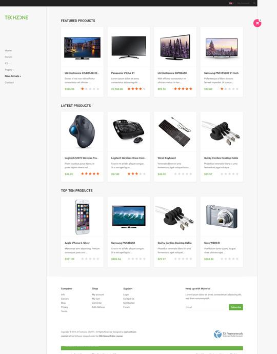eCommerce Joomla template - JA Techzone