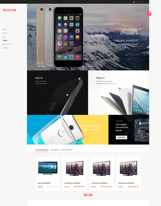 Joomla template for mobile store website red theme - JA Techzone