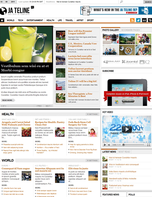 News Joomla template - JA Teline iv brown theme