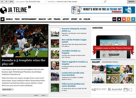 Best Magazine News Joomla Template - JA Teline IV
