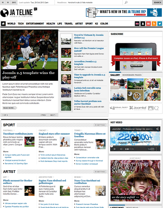 Joomla Template For News Websites Ja Teline Iv