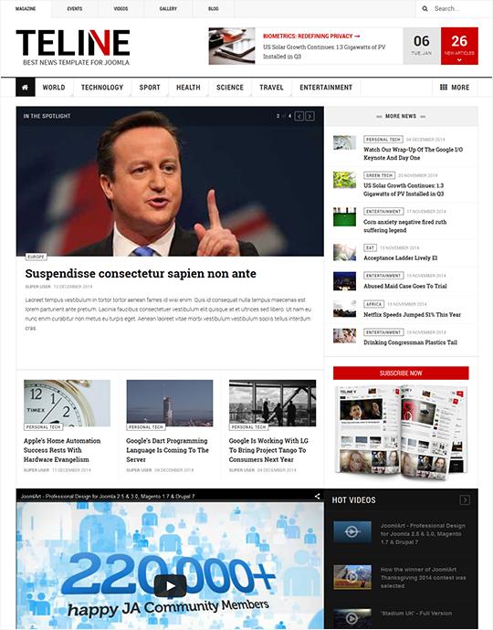 News and magazines Joomla template - JA Teline V
