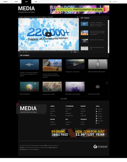 Magazines Joomla template video page - JA Teline V