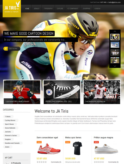 Ecommerce Shoppping Joomla template yellow theme - JA Tiris