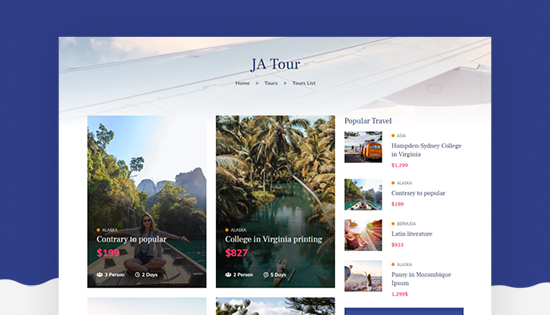 travel booking joomla template