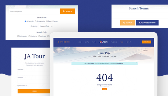 Joomla travel template default pages