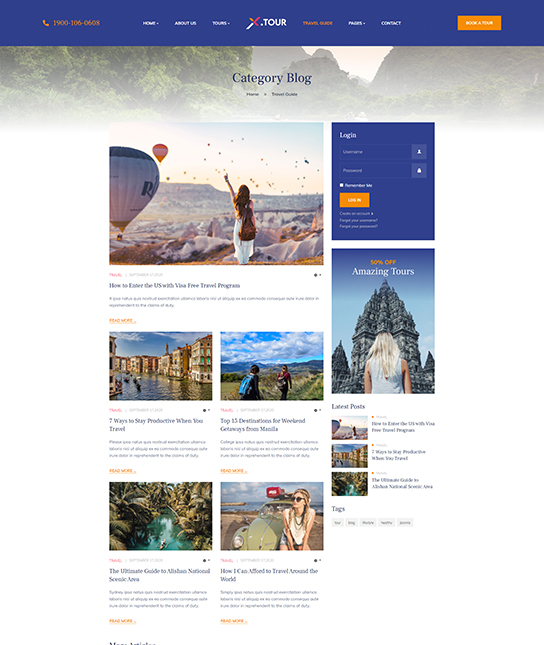 travel blog joomla template - JA Tour