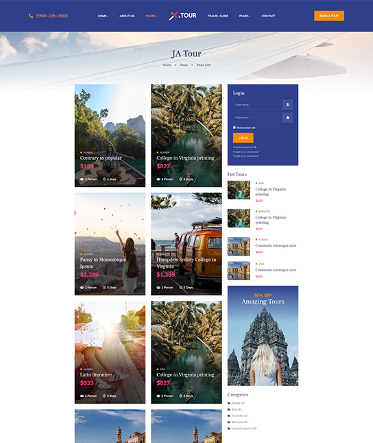 Joomla travel booking template - JA Tour