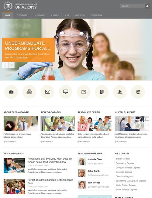 joomla template for education grey theme - JA University