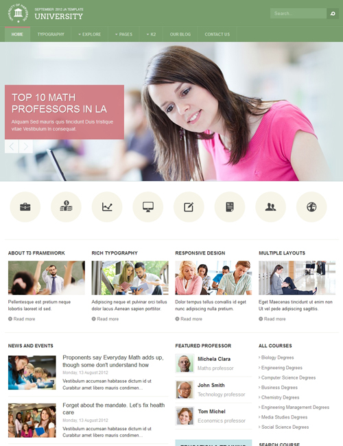 joomla education template - JA University