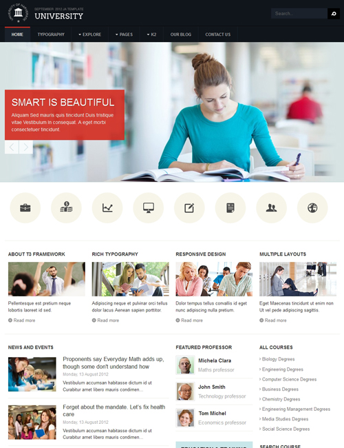 Responsive Joomla education template - JA University