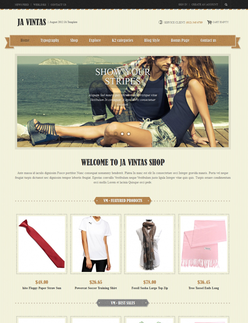 Shopping Joomla template brown theme - JA Vintas