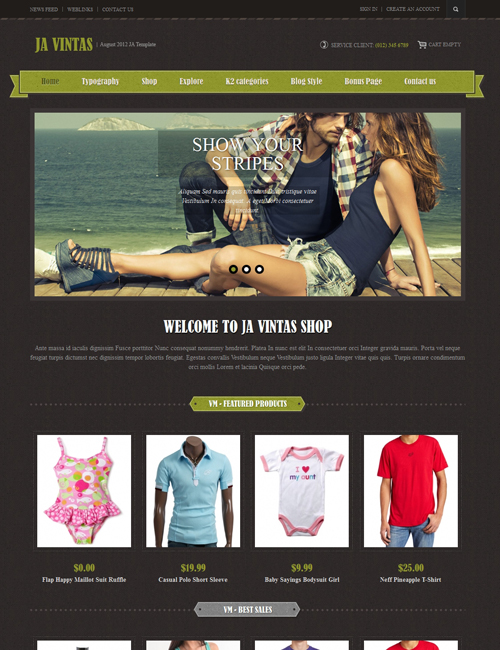 Shopping Joomla template dark theme - JA Vintas