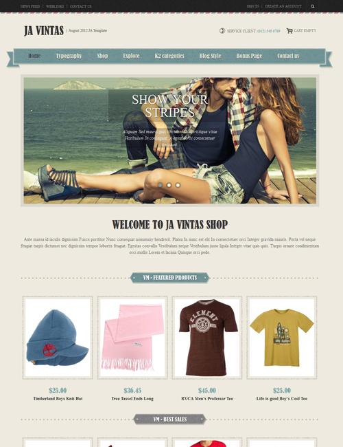 Shopping Joomla template green theme - JA Vintas