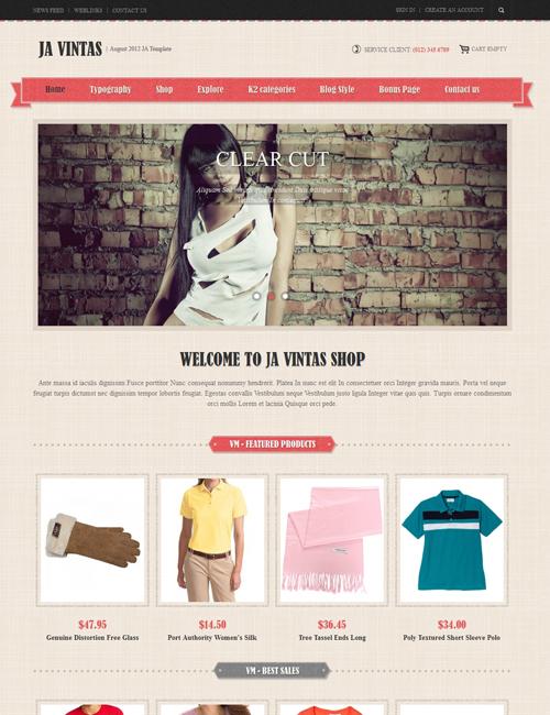 Shopping Joomla template - JA Vintas