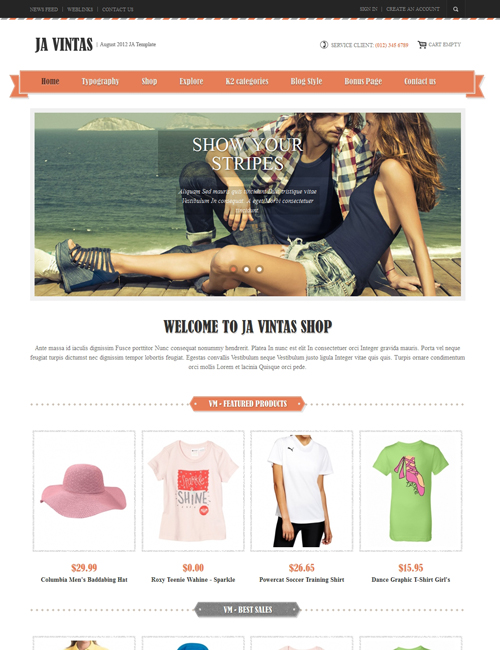 Shopping Joomla template orange theme - JA Vintas