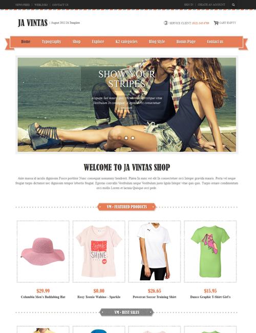 Shopping Joomla template orange theme - JA Vintas