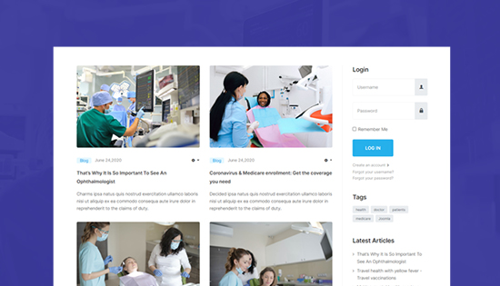 healthcare blog joomla template