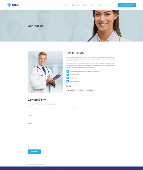 Joomla template for healthcare - JA Vital