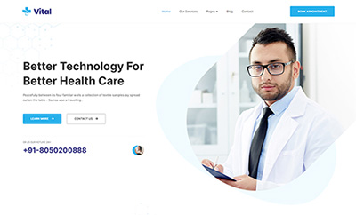 Joomla Medical Template for Hospital and Healthcare - JA Vital