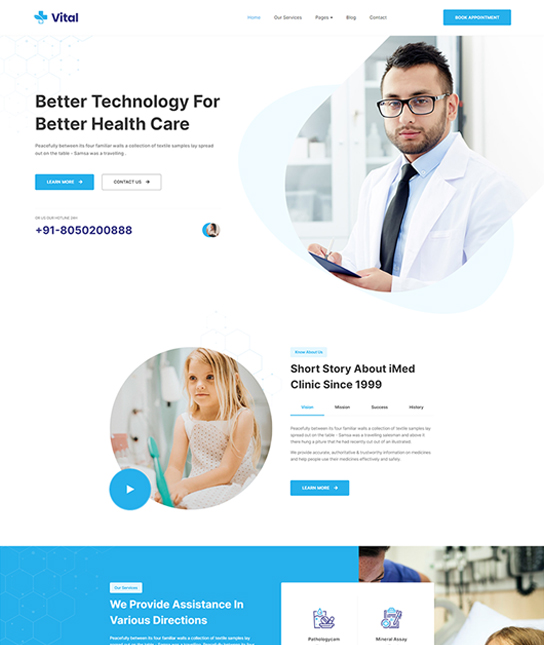 Medical Joomla template - JA Vital
