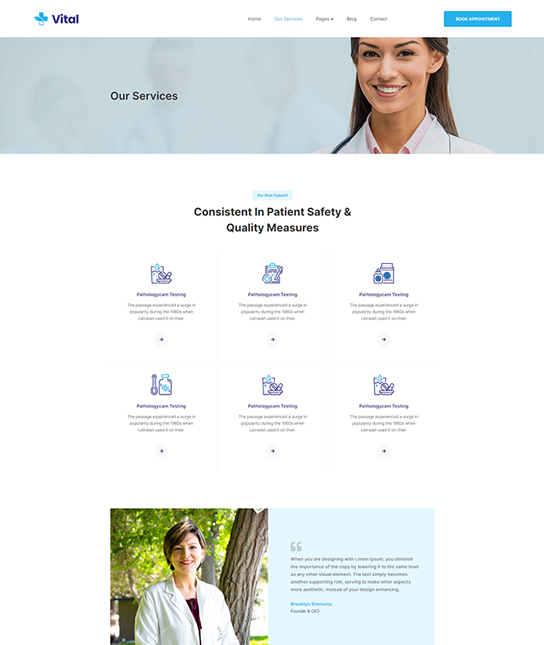 Medical services Joomla template - JA Vital