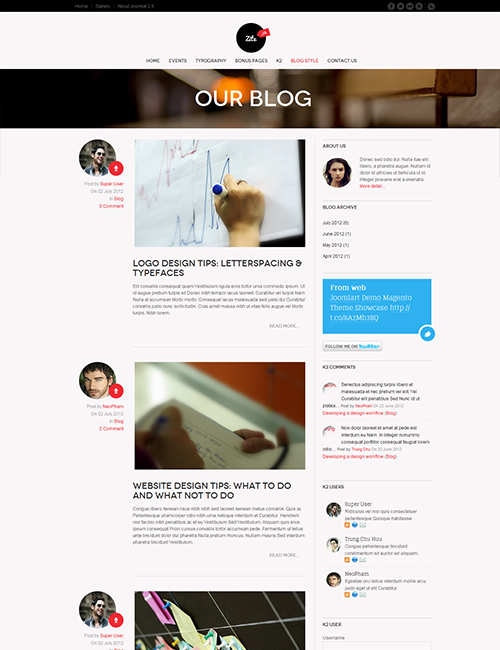 Business social Joomla template blog page - JA Zite