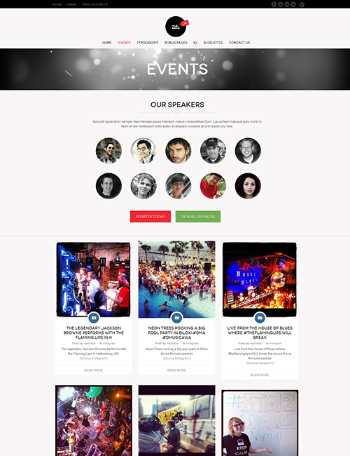 Business social Joomla template event page - JA Zite