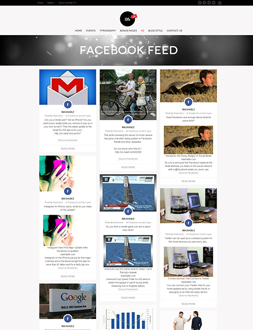 Business social Joomla template facebook feeds page - JA Zite