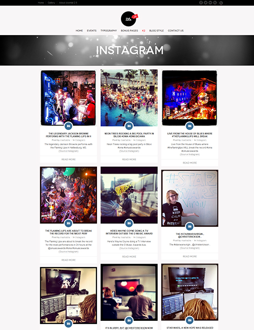 Business social Joomla template instagram feeds page - JA Zite
