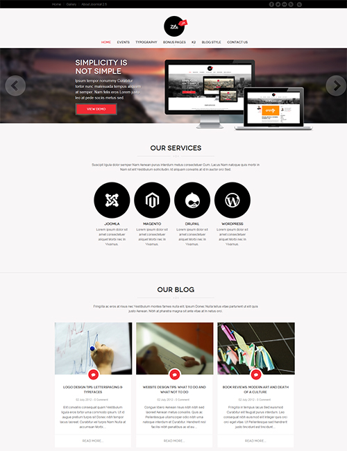 Business social Joomla template - JA Zite