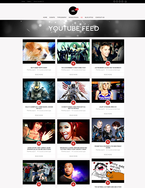 Business social Joomla template youtube page - JA Zite