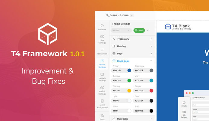 T4 Joomla Framework updated for important improvements and bug fixes