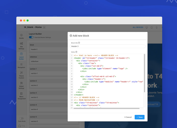 T4 Joomla template framework alpha released