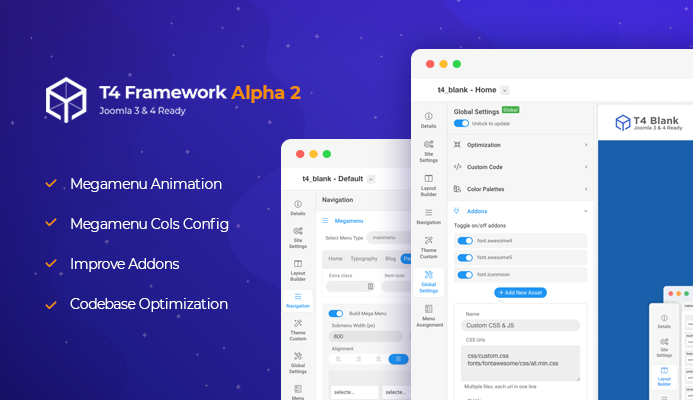 T4 Joomla template framework Alpha 2 updated for new features and improvements