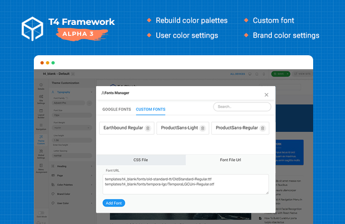 T4 Joomla Template Framework Alpha 3: supports custom font, theme customization and more