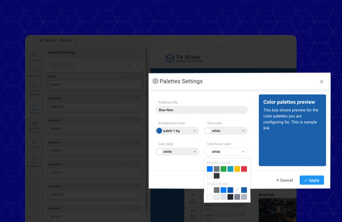 Joomla template framework color settings