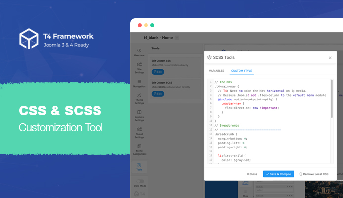 T4 Joomla template framework CSS and SCSS customization