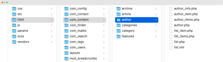 joomla author page customization
