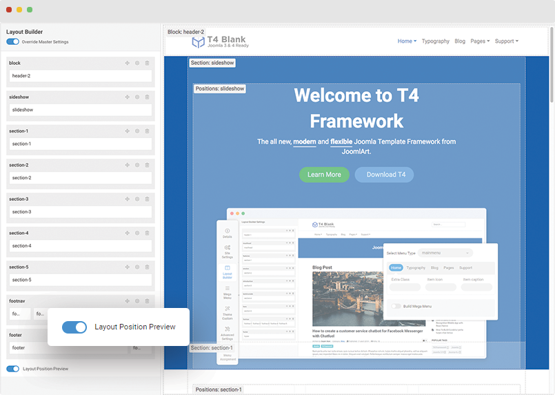 t4 joomla template layout position preview
