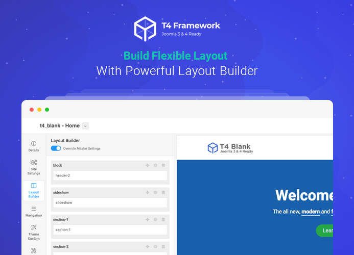 Introducing best Joomla Layout Builder in T4 Joomla template framework
