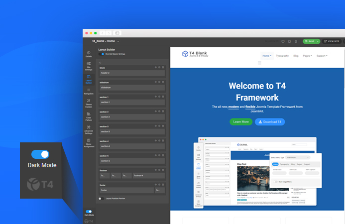 T4 Joomla template framework dark mode