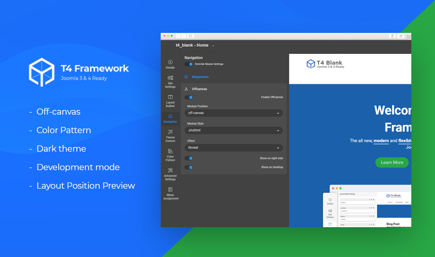 T4 Joomla template framework preview 2 released