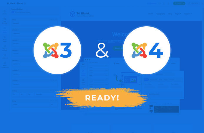 T4 Framework compatible with Joomla 3 and Joomla 4